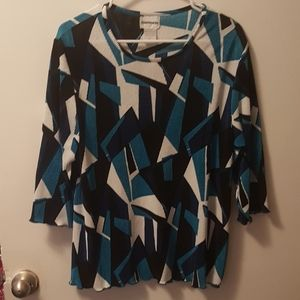 Blue and Black Asymmetrical Top